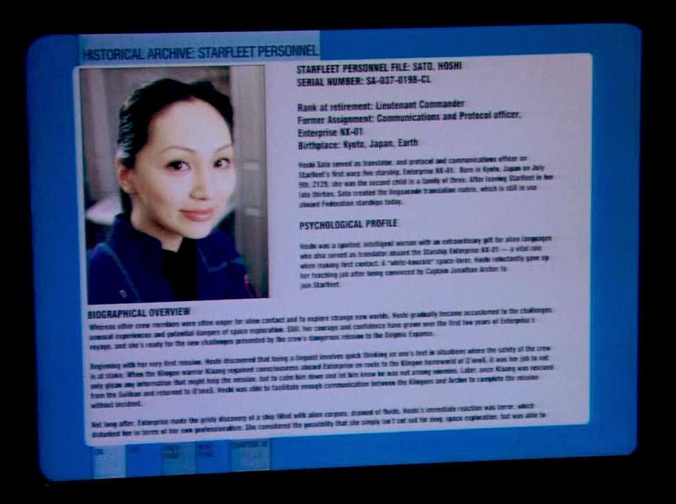 Here Are The Personnel Profiles Of Jonathan Archer And Hoshi Sato That Appeared On A Monitor In ENT Mirror Darkly Part II As Posted By Writer