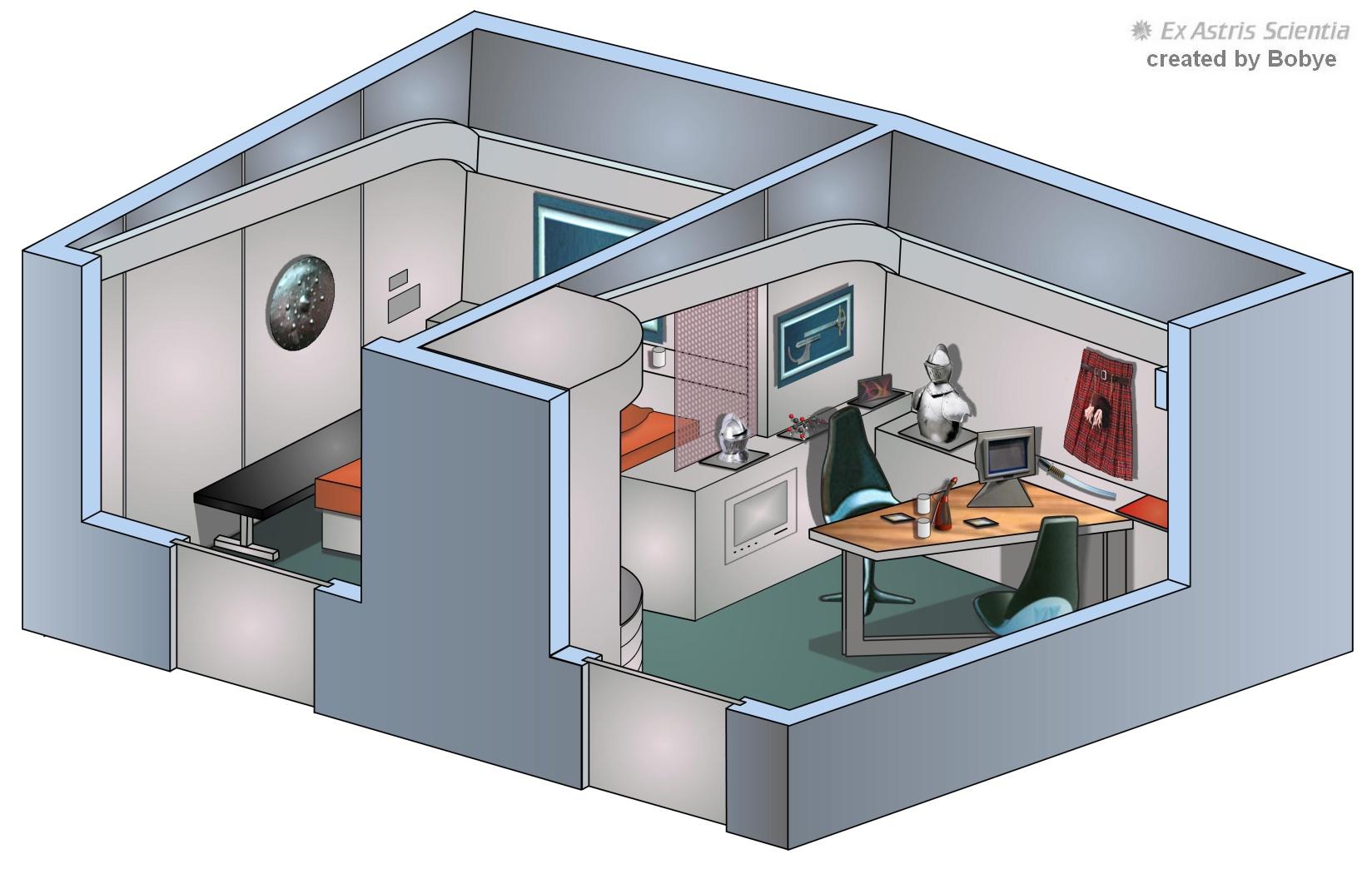 Ex Astris Scientia Galleries Original Enterprise Interiors Star Trek Engineering Schematics Scotts Quarters Created By Bobye