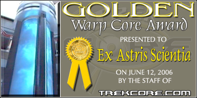 TrekCore Golden Warp Core Award