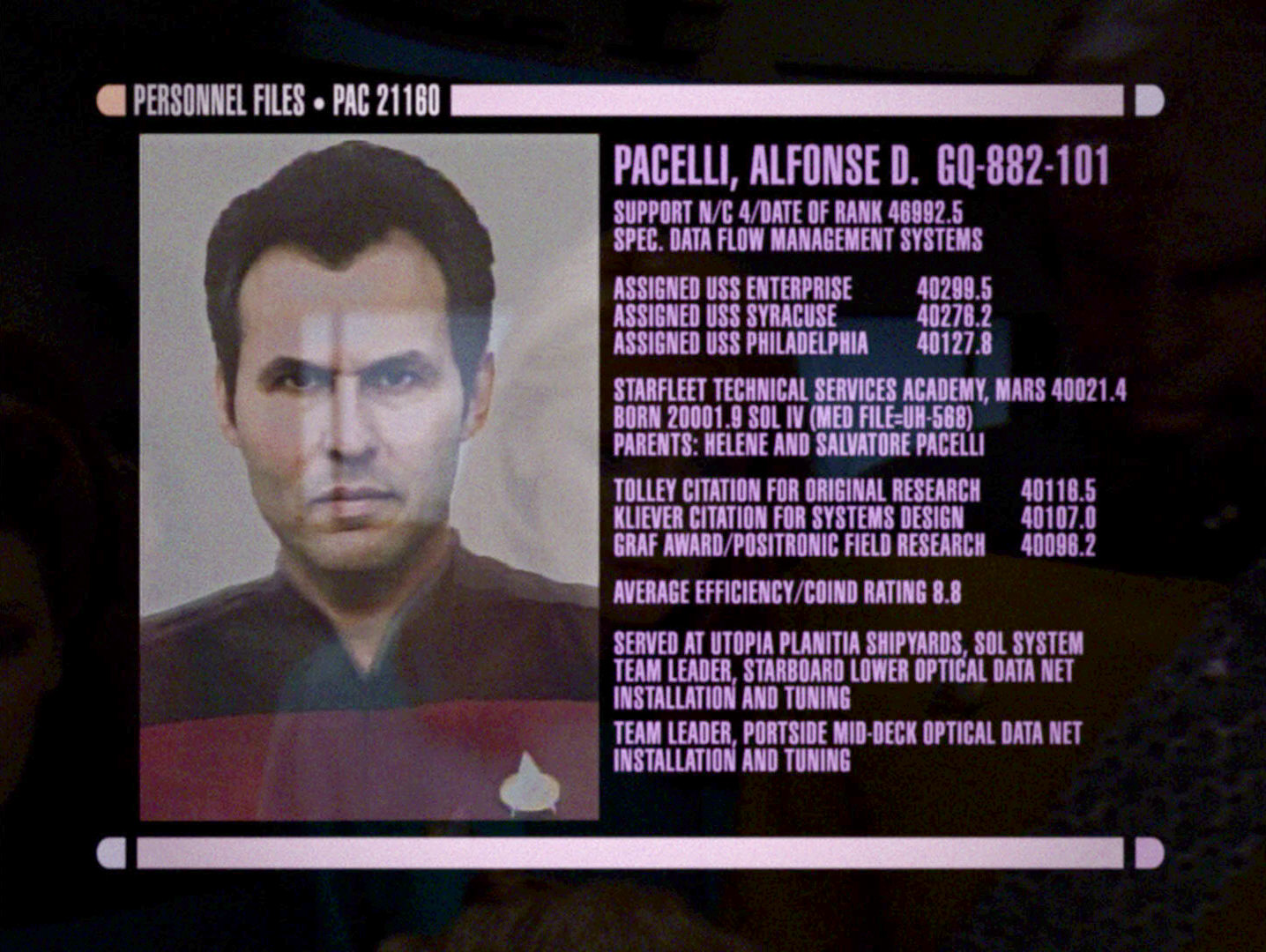 ex astris scientia other starfleet ship classes uss philadelphia shown as part of a personnel file alfonse d pacelli in tng eye of the beholder the personnel file appears only in deanna s